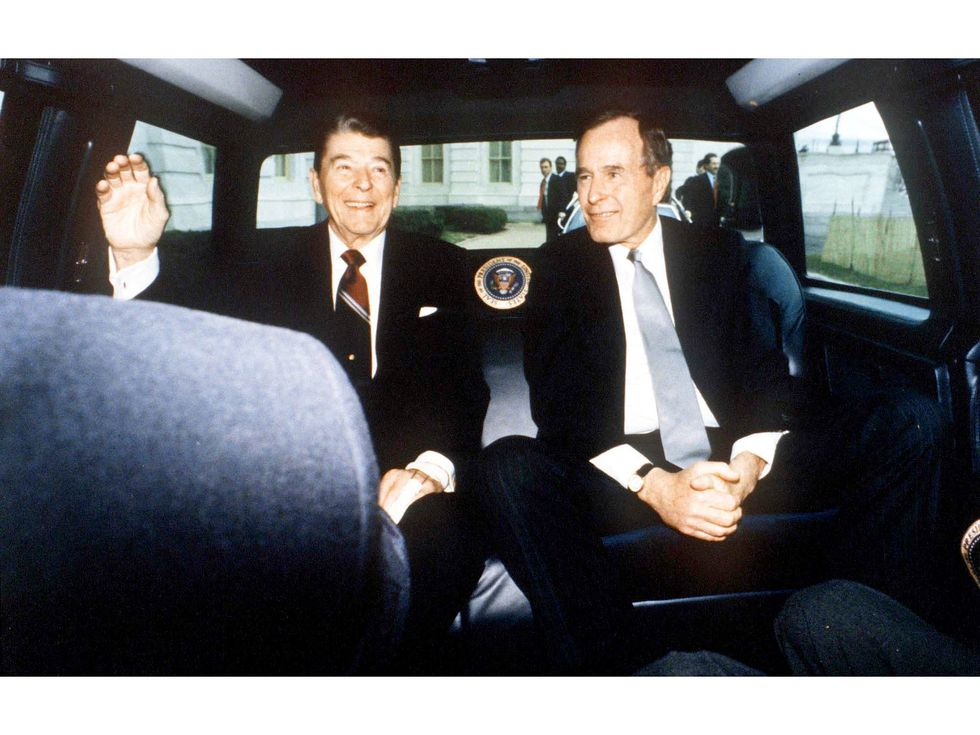 George Bush Ronald Reagan president limo