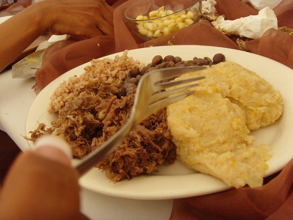 Seswaa being eaten in Botswana