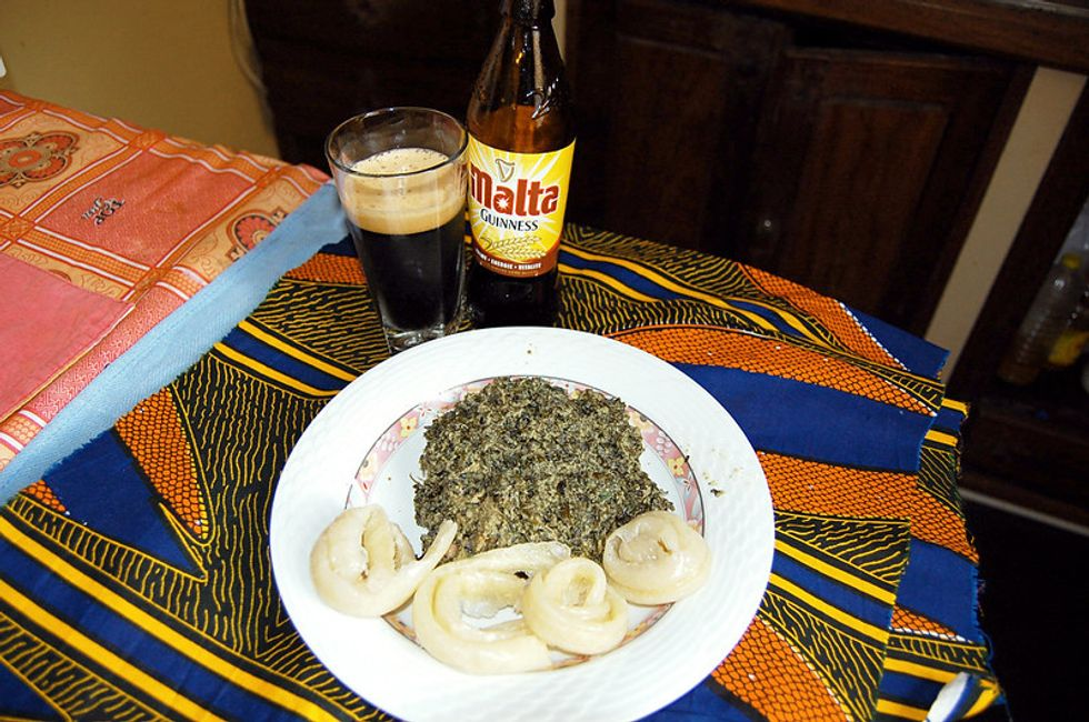Ndole, a Cameroonian vegetable stew, with Malta.