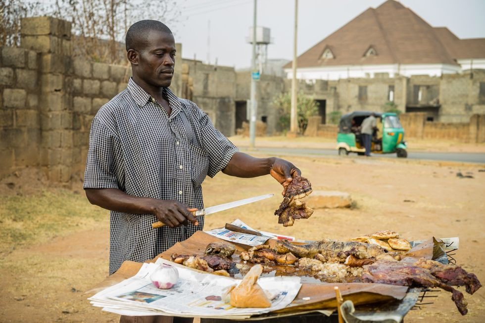 A Suya seller in Lagos.