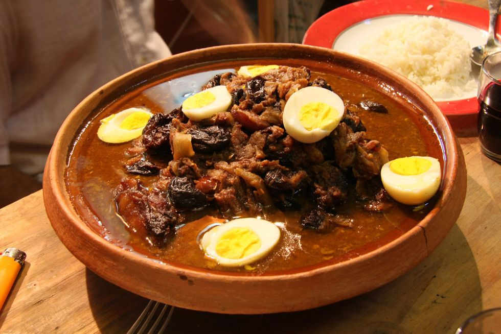 Tajine: Moroccan food named after the dish it's cooked in.