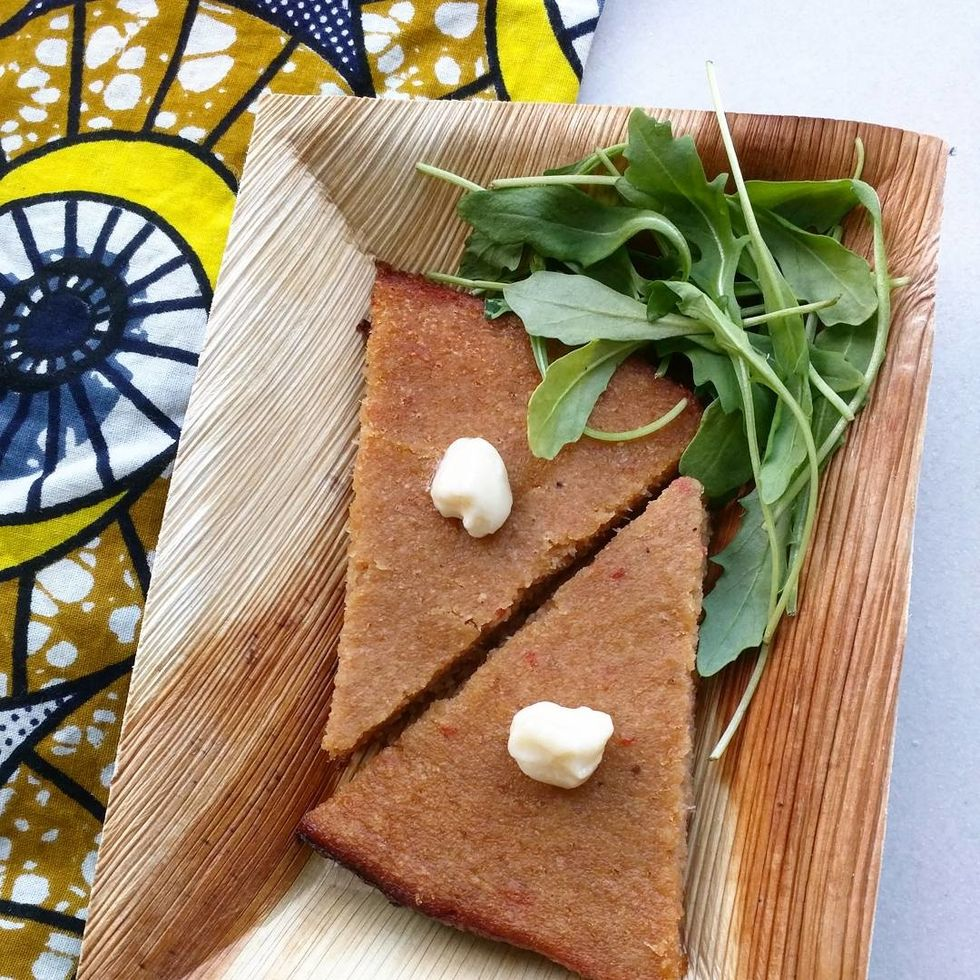 Slices of moi moi, as served at the Nigerian Tapas Restaurant, Chuku's (London, UK)