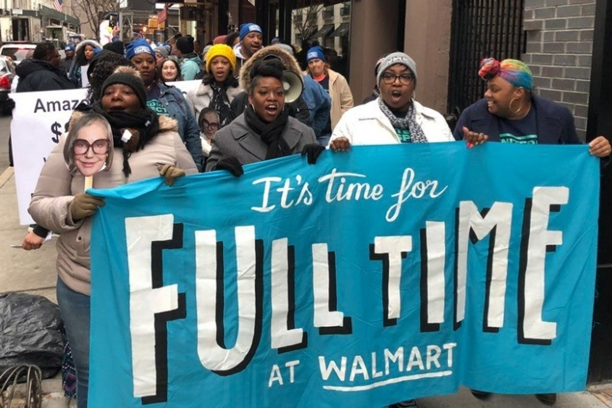 Walmart workers demand fair pay at a passionate protest outside Alice Walton's penthouse