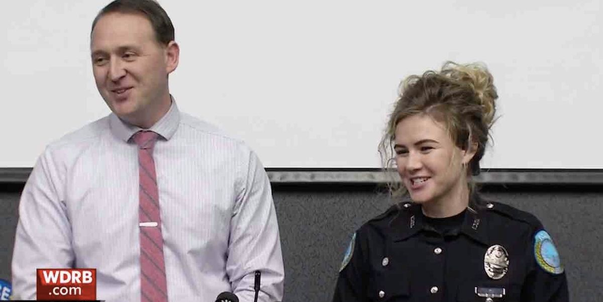 Newlywed cops enjoy off-duty date night at restaurant — until armed masked man walks in demanding cash. The lovebirds win this one.