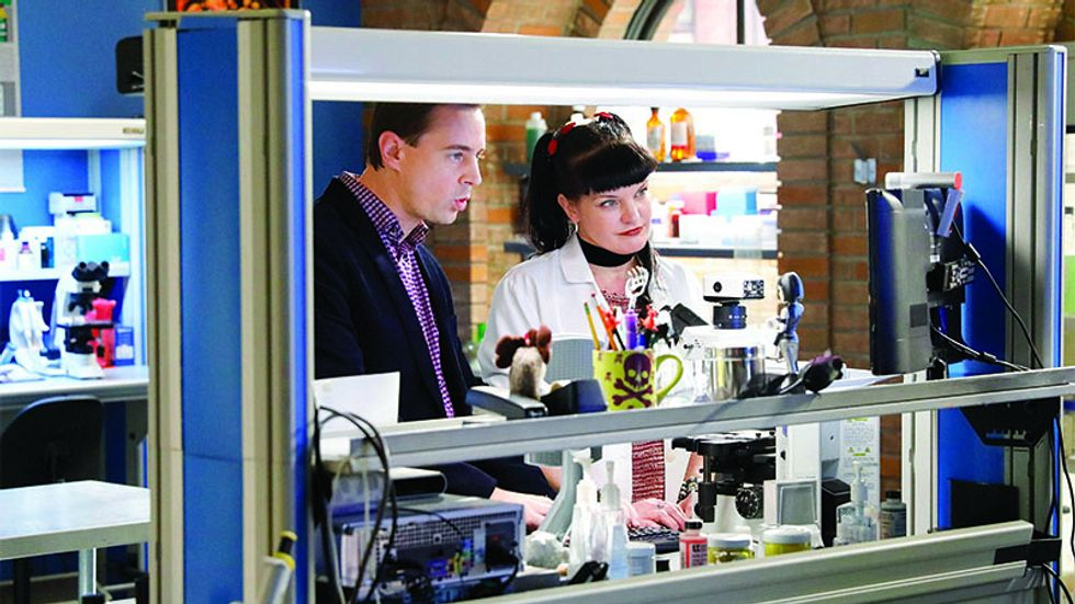 Actors Sean Murray and Pauley Perrette on the set of the show NCIS.