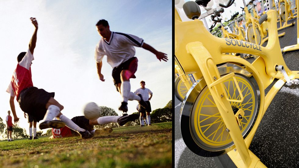 A photo of soccer players in action next to a picture a Soulcycle.