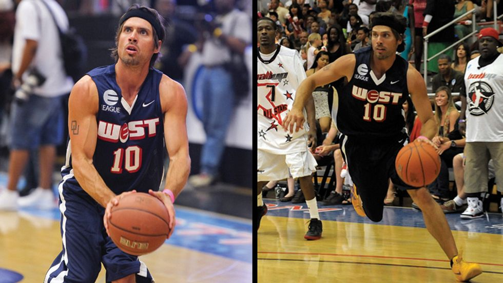Two action shots of Joshua Morrow playing basketball in a charity sporting event.