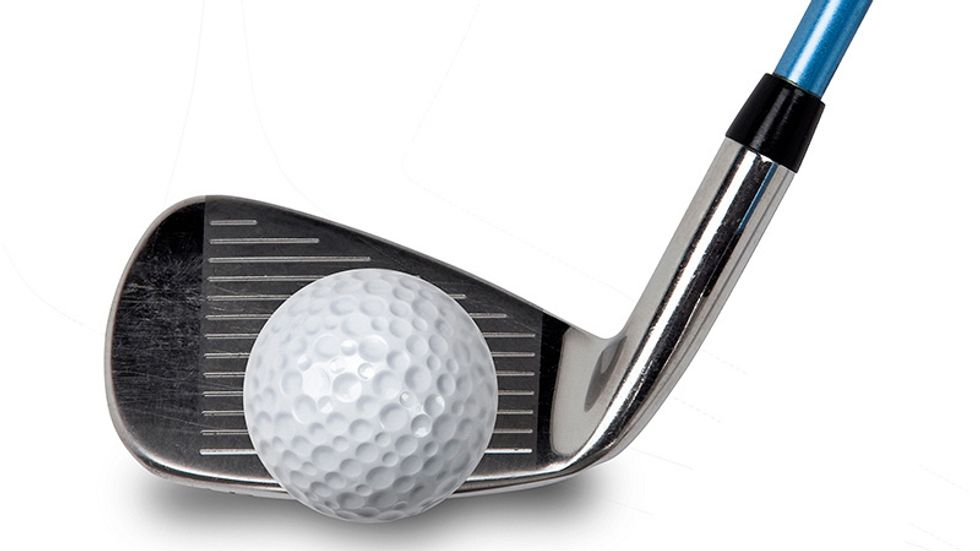 A stock image of a golf club and a golf ball.