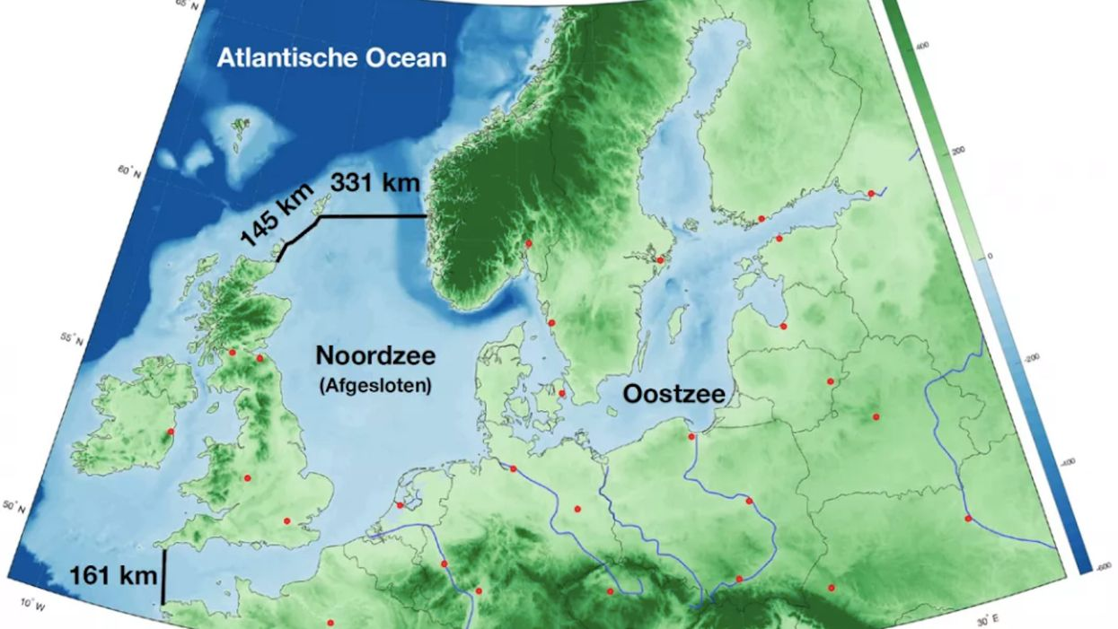 Proposal for the Northern European Enclosure Dam (NEED), in two main parts: from France to England, and from Scotland to Norway.