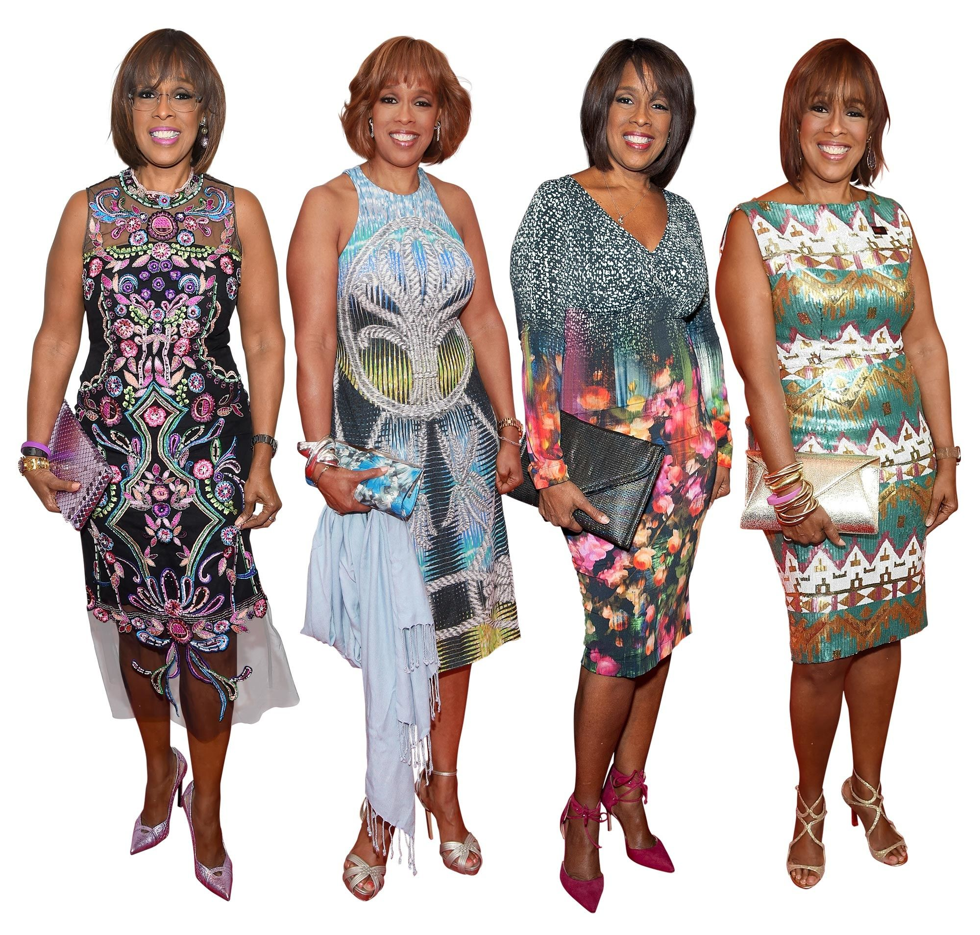 Gayle King wearing a variety pretty print and patterned dresses.