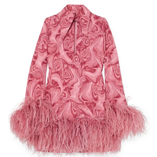 A pink feather-trimmed dress.