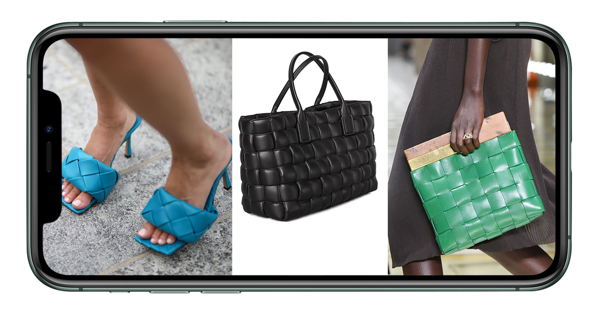 Bottega Veneta high-heels sandals, large tote, and square clutch purse.