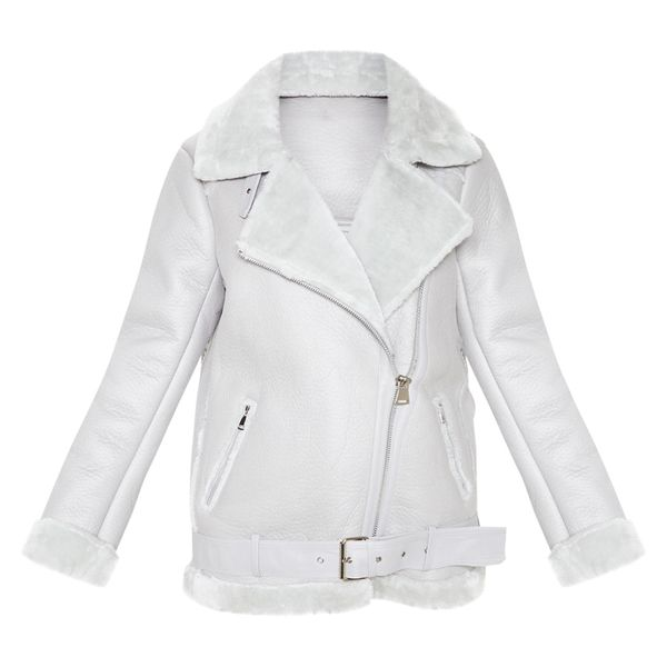 Faux-fur shearling aviator jacket.
