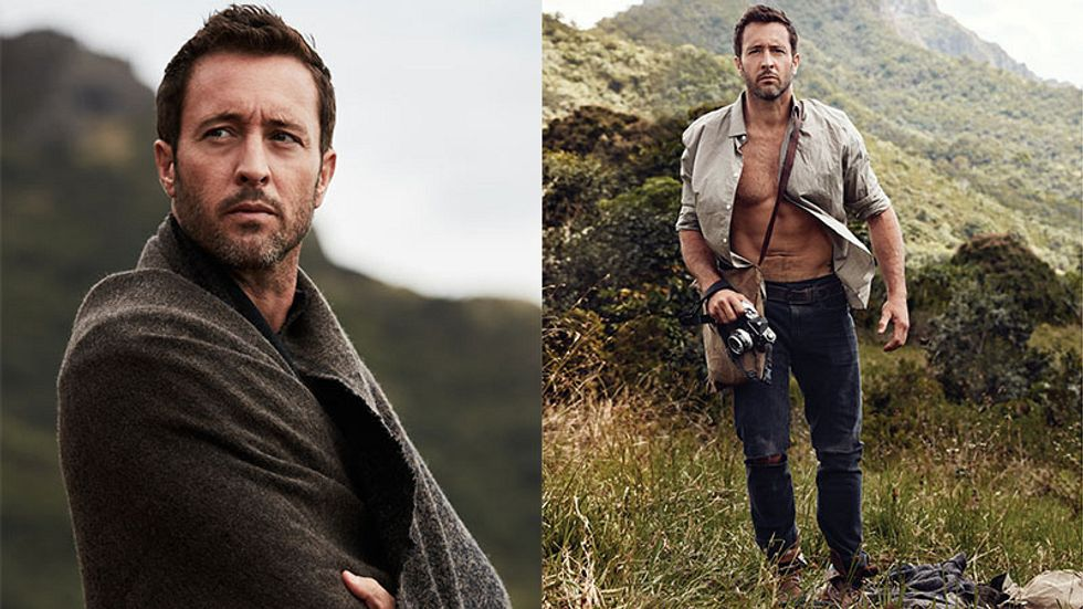 two images of Alex O'Loughlin wearing asweater and wearing an open white shirt.
