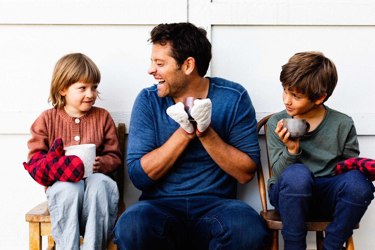 Actor Misha Collins with his children.
