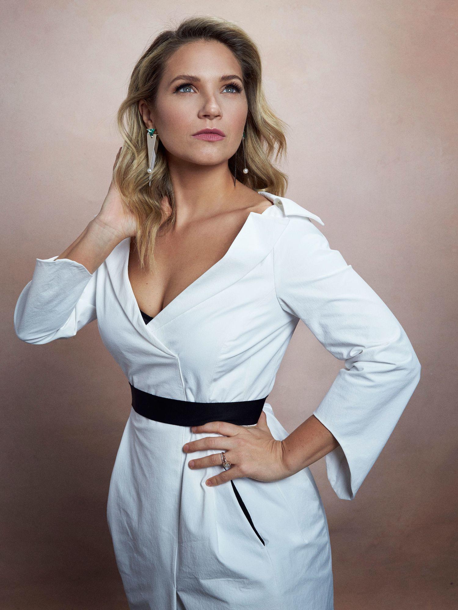 Vanessa Ray in white dress.