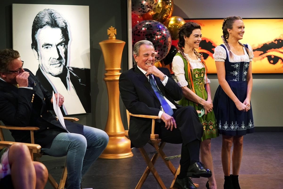 Eric Braeden and costars Melissa Ordway and Amelia Heinle.