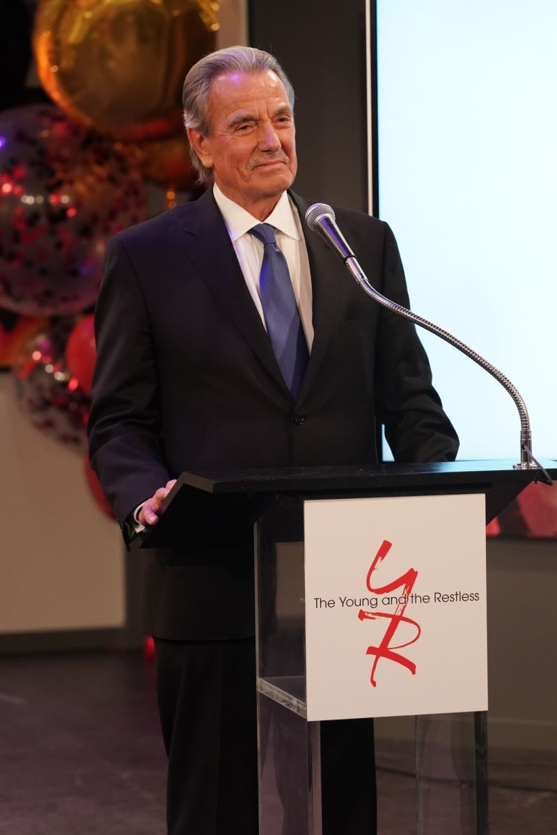 Eric Braeden takes the microphone at his 40th anniversary celebration.