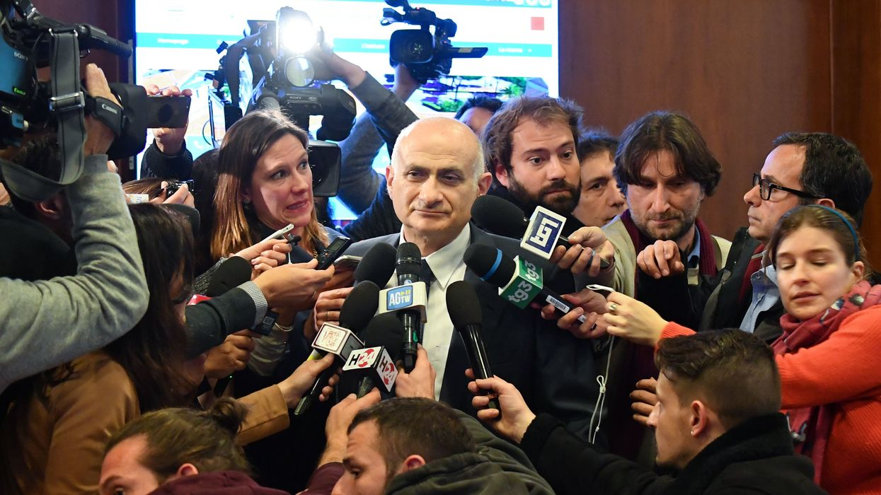 Scientific Director of the Lazzaro Spallanzani National Institute for Infectious Diseases, Giuseppe Ippolito speaks to reporters at a press conference.