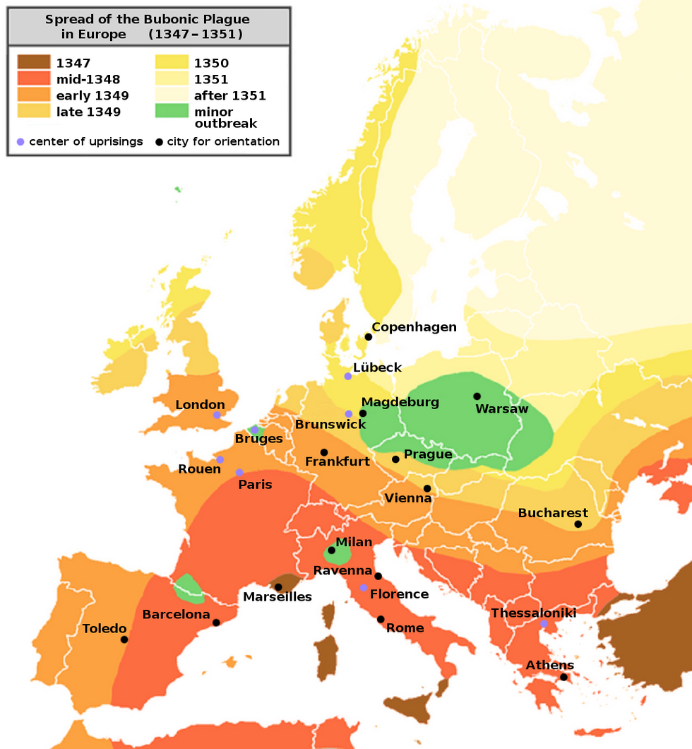 The Black Death spread rapidly along the major European sea and land trade routes. Spread of bubonic plague in medieval Europe. The colors indicate the spatial distribution of plague outbreaks over time. Spread of plague in the 1340s: 1347 mid-1348 early-1349 late-1349 Areas that escaped with minor plague outbreak. The migration of the Black Death across Europe.