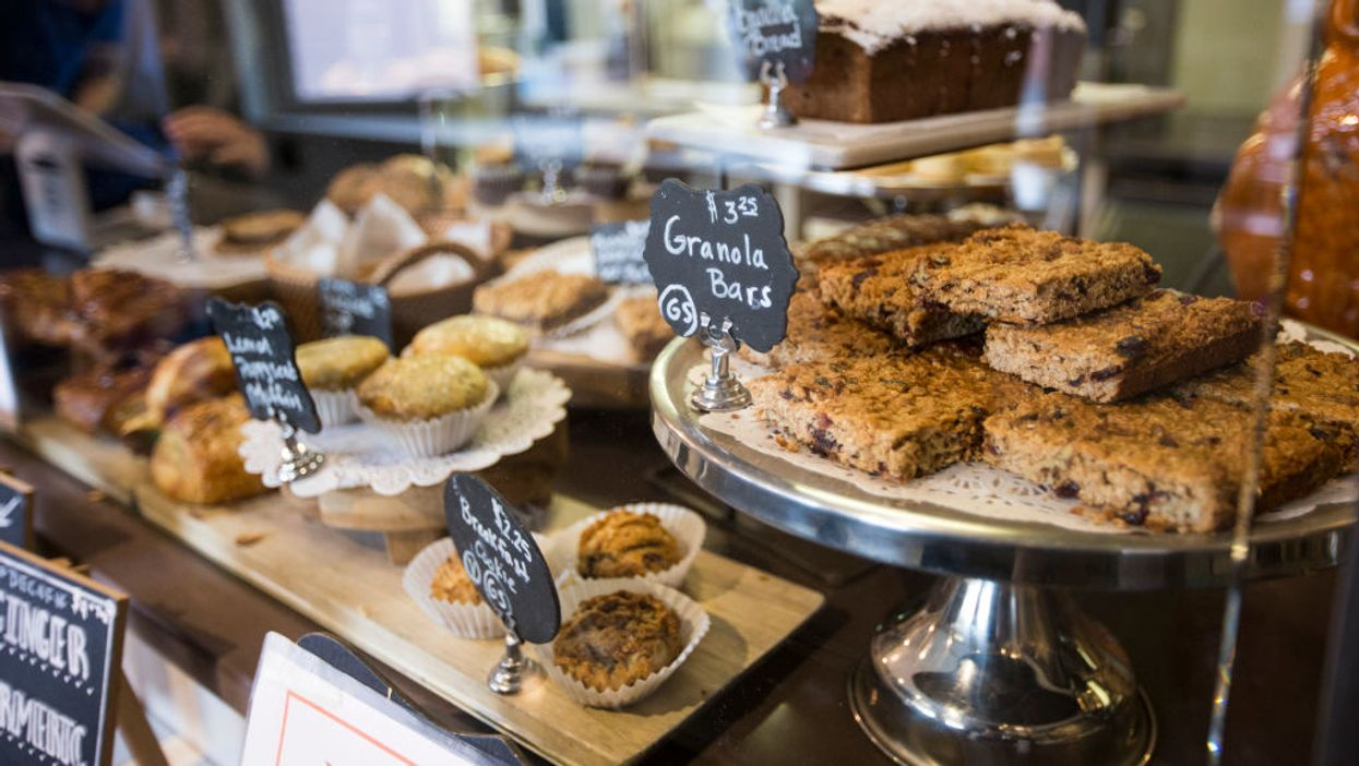 baked goods on counter at coffee shop