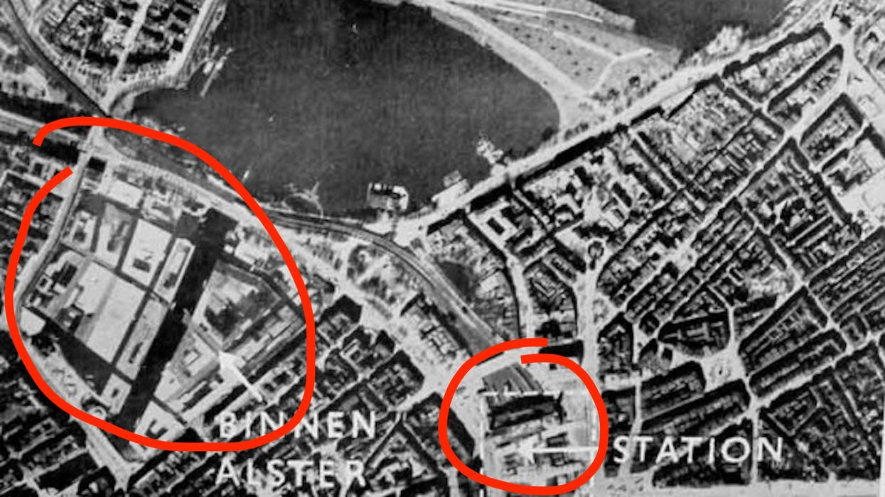The Binnenalster and Central Station in Hamburg in 1941, cloaked against aerial attack.