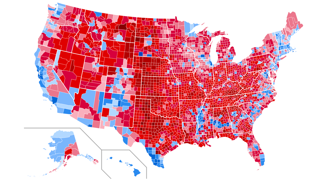 Map: United States presidential election results by county, 2016