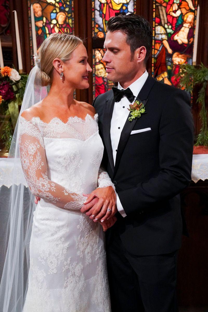 Soap stars Sharon Case and Joshua Morrow on their TV wedding day.