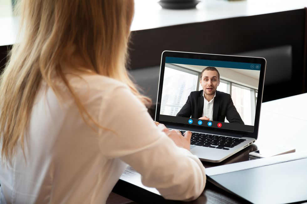 Hiring manager conducts a video interview