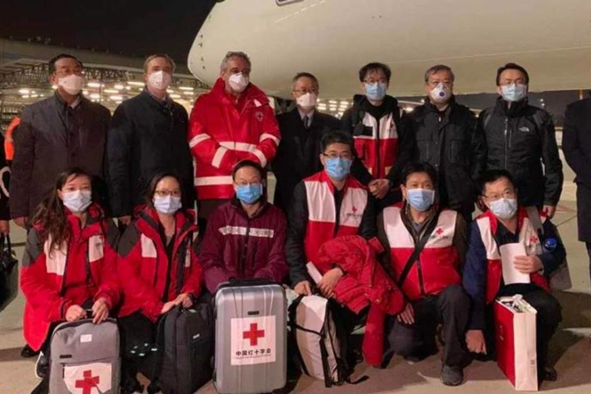 A planeful of Chinese COVID-19 experts and 30 tons of medical supplies has arrived in Italy