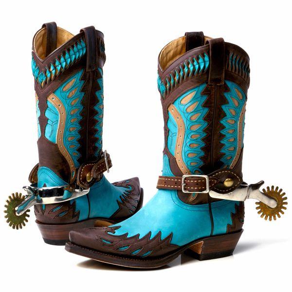 Turquoise blue cowboy boots.