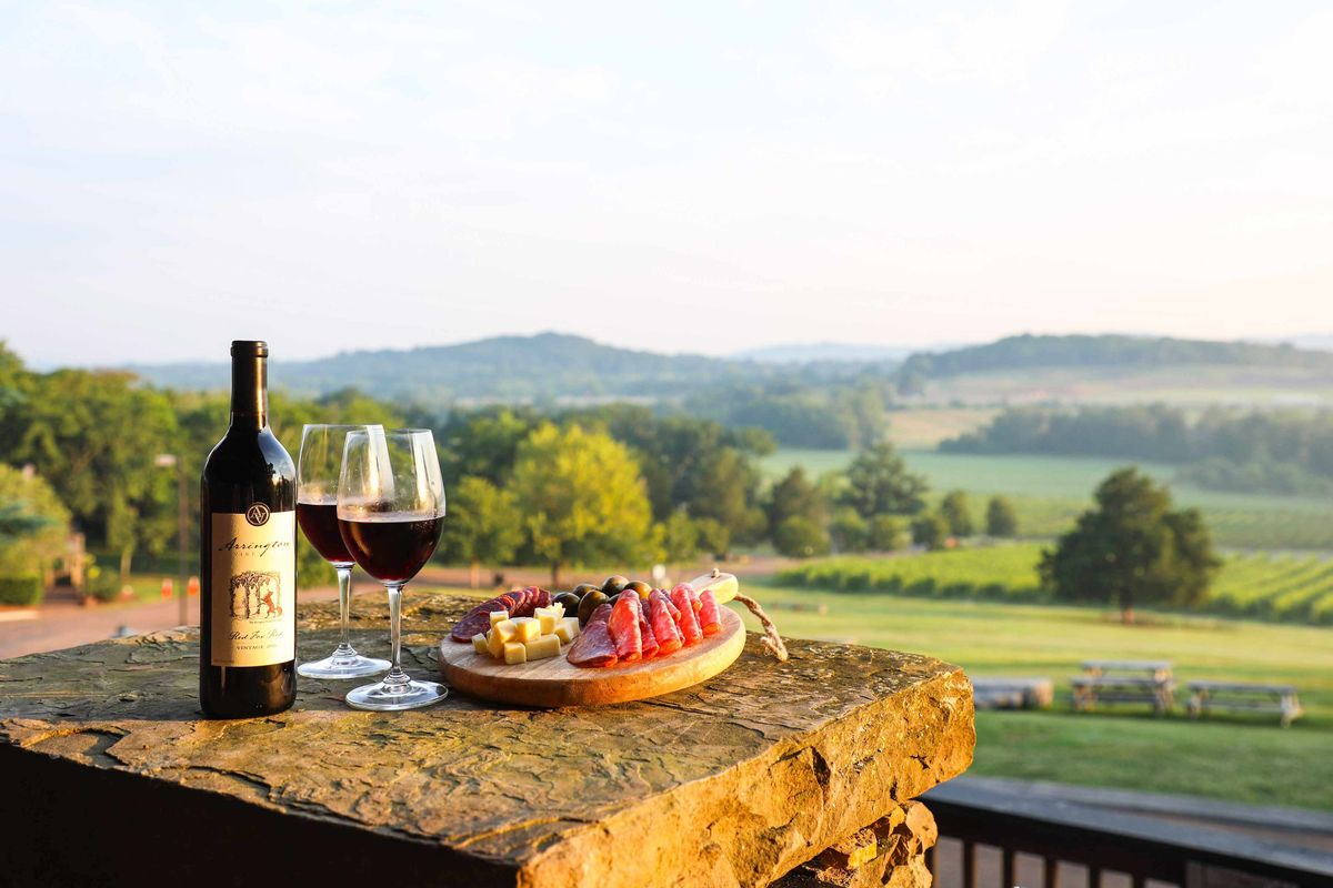 Wine glasses and a vineyard view.