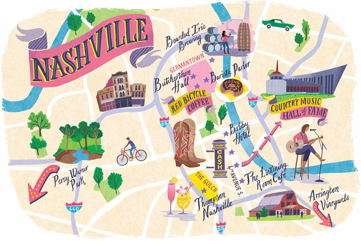 Illustrated map of Nashville, Tennesse
