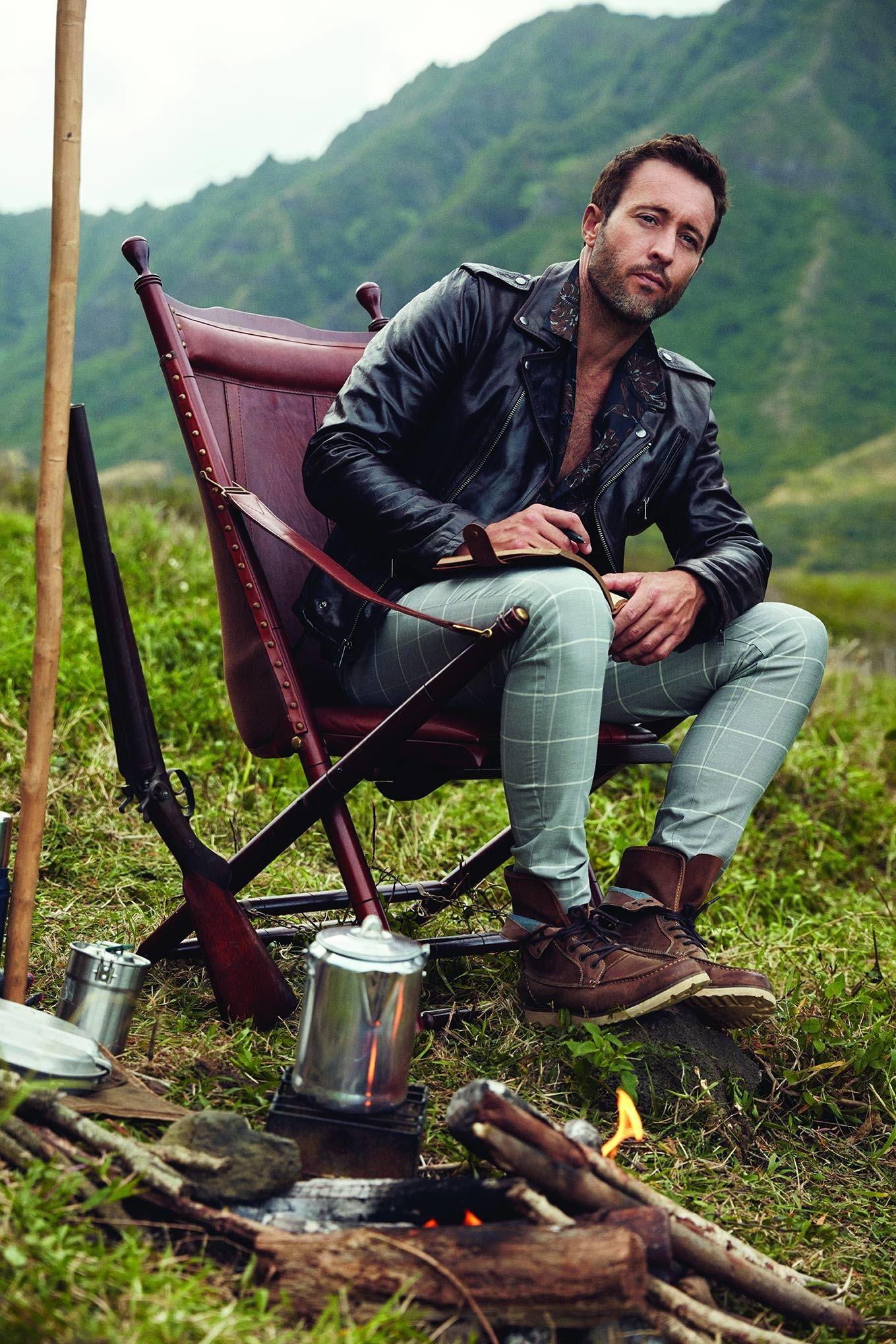 Alex O\u2019Loughlin wearing plaid pants and boots