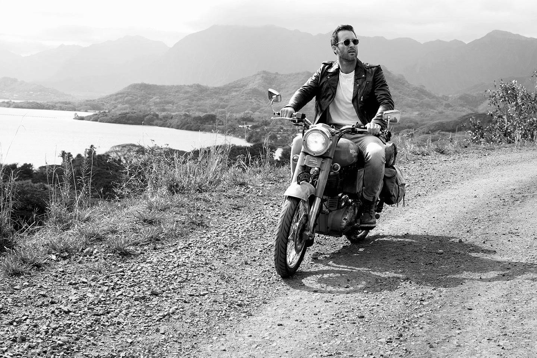 Alex O'Loughlin riding motorcycle