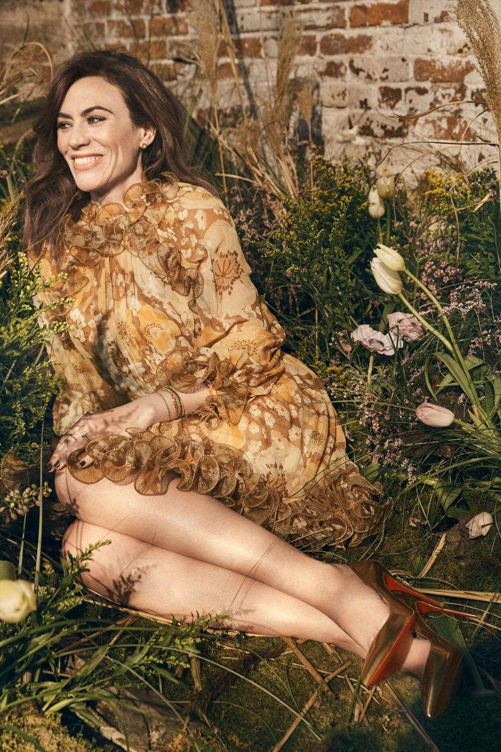 Maggie Siff in floral-inspired fashion.