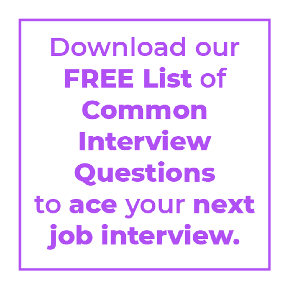 Download Work It Daily\u2019s free list of common interview questions