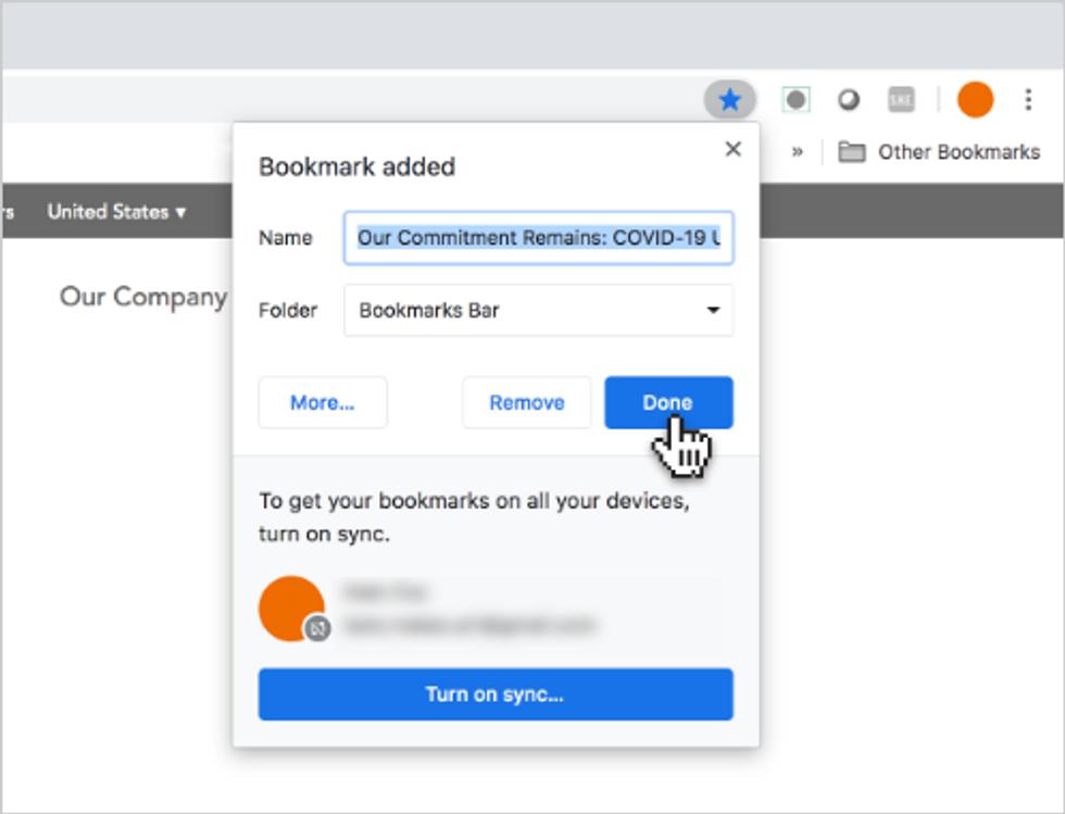Google Chrome (desktop), step 2