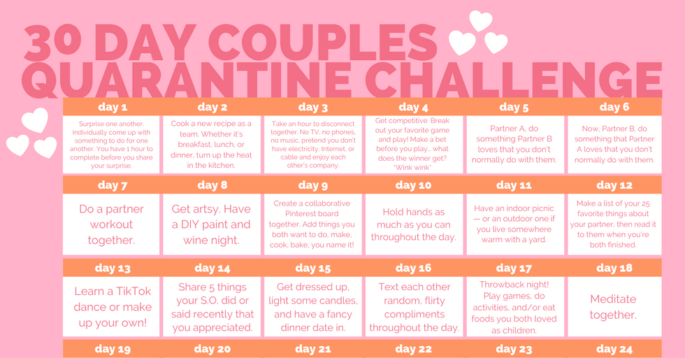 This 30-Day Couples Quarantine Challenge Will Literally Make You Closer Than Ever