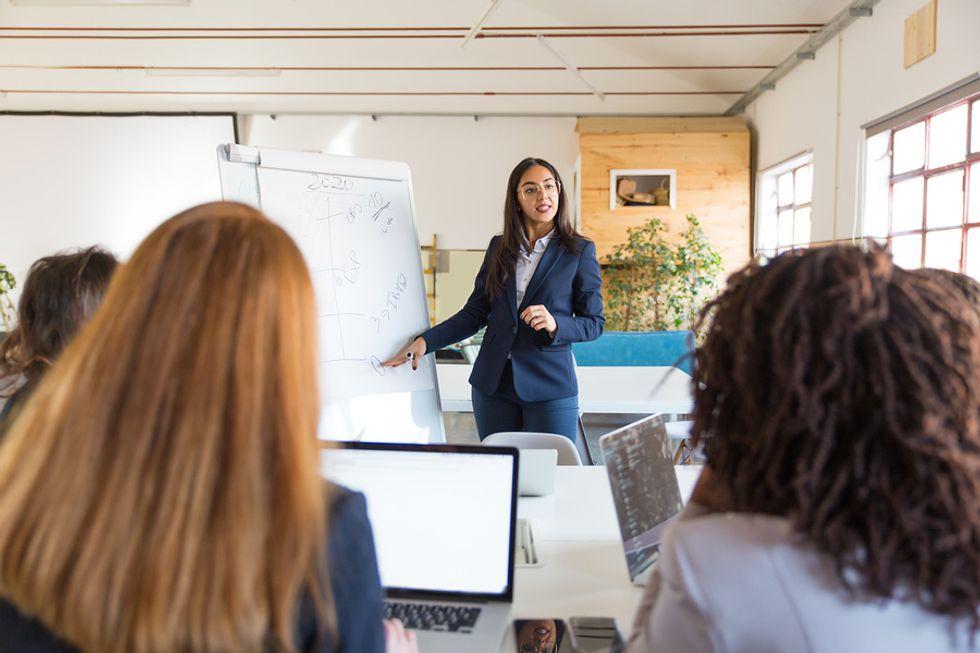 Woman shows leadership through chaos