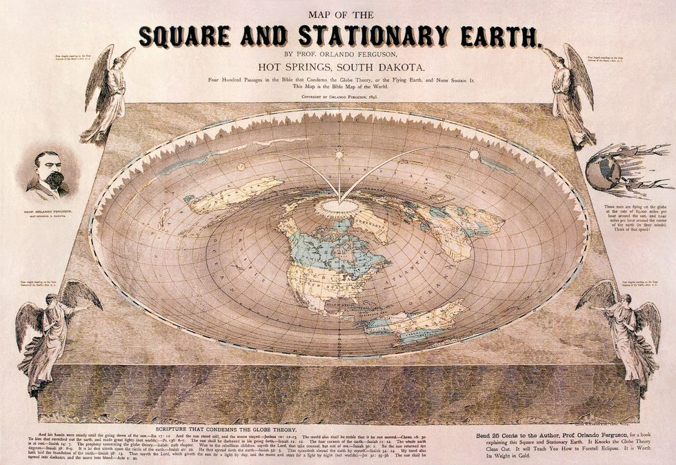 Orlando Ferguson's map of the square and stationary earth (1893)