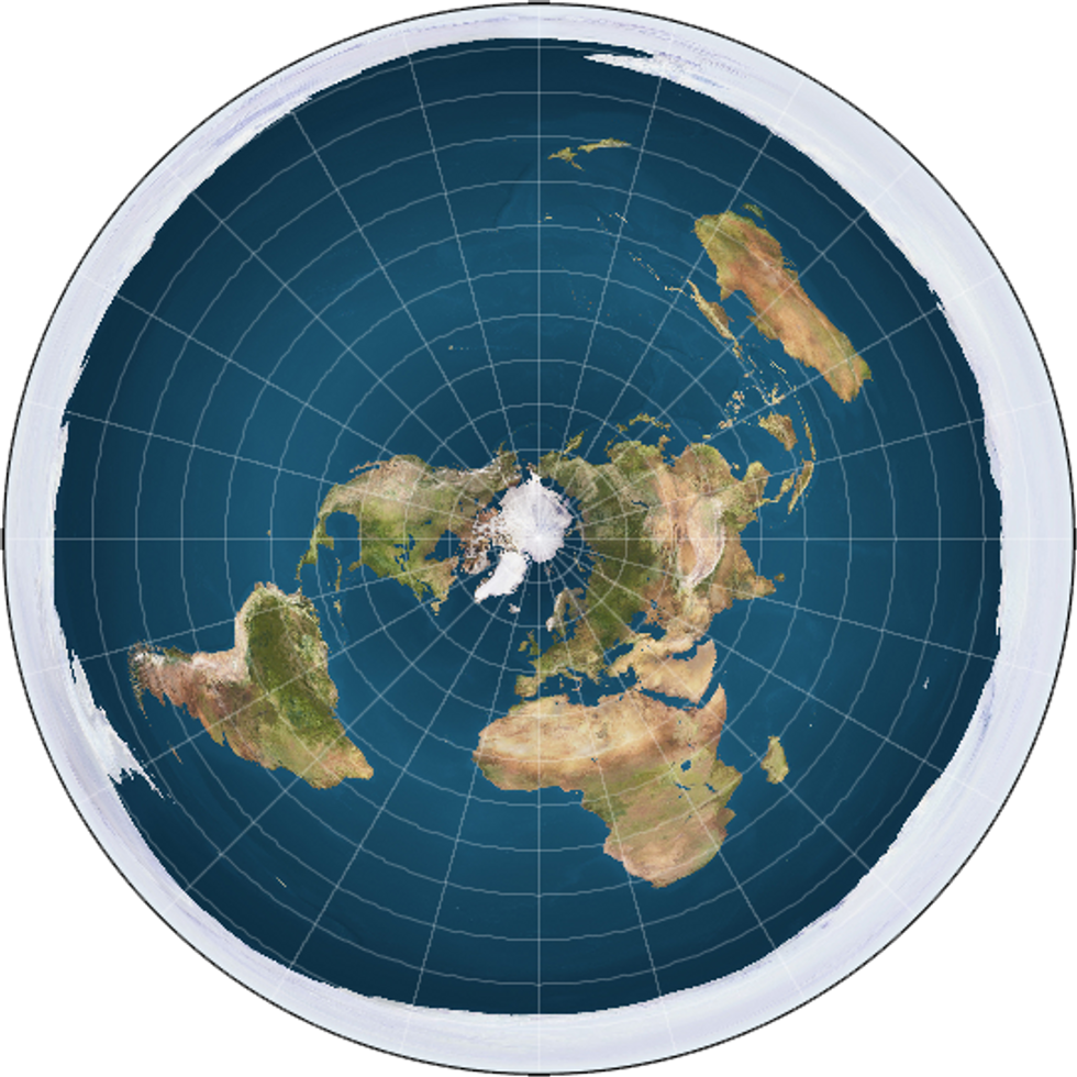 Map of the Flat Earth, showing the ice wall at its outer limits.
