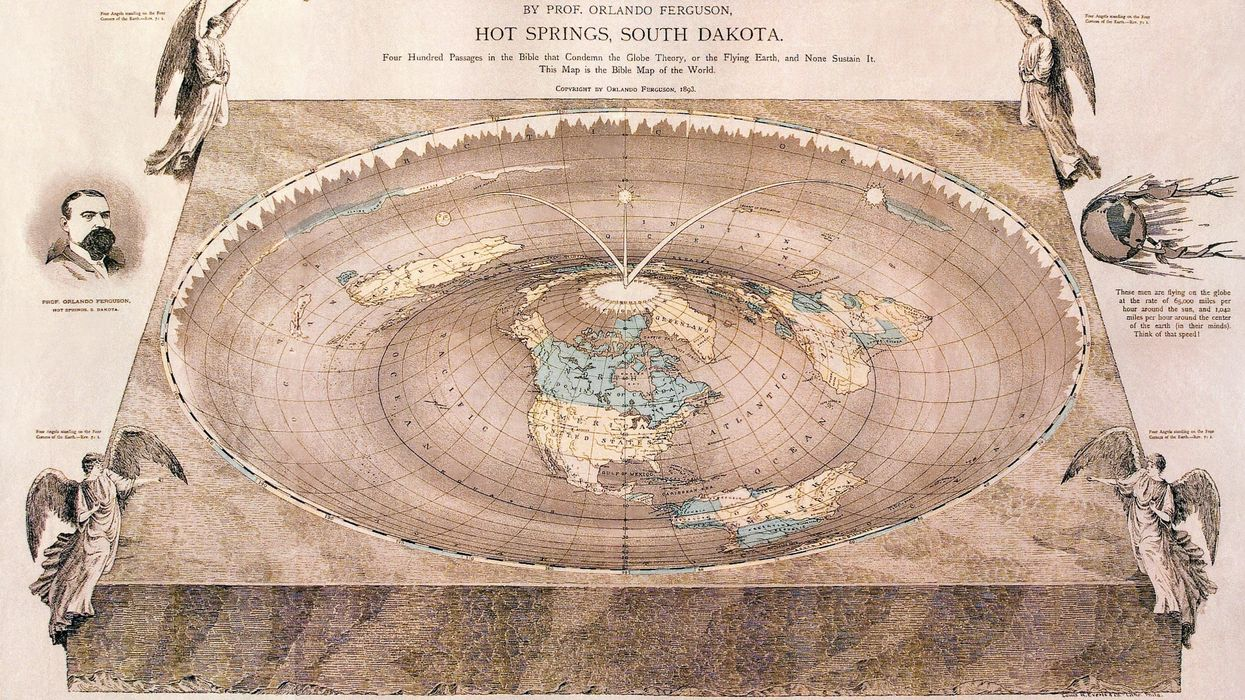 Orlando Ferguson's map of the square and stationary earth (1893).