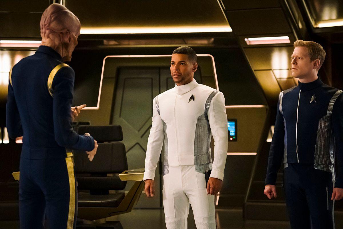 Doug Jones, Wilson Cruz, and Anthony Rapp on the set of Star Trek: Discovery.