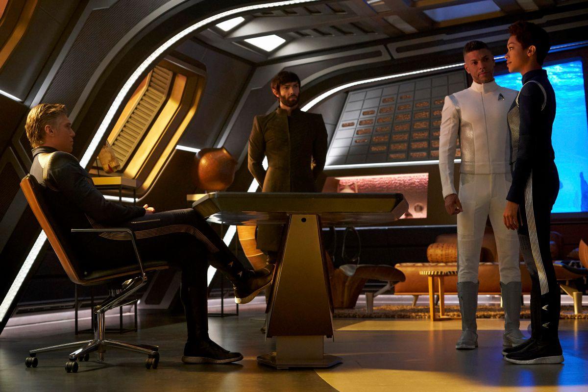 Anson Mount; Ethan Peck; Wilson Cruz; Sonequa Martin-Green on the set of TV show Star Trek: Discovery.