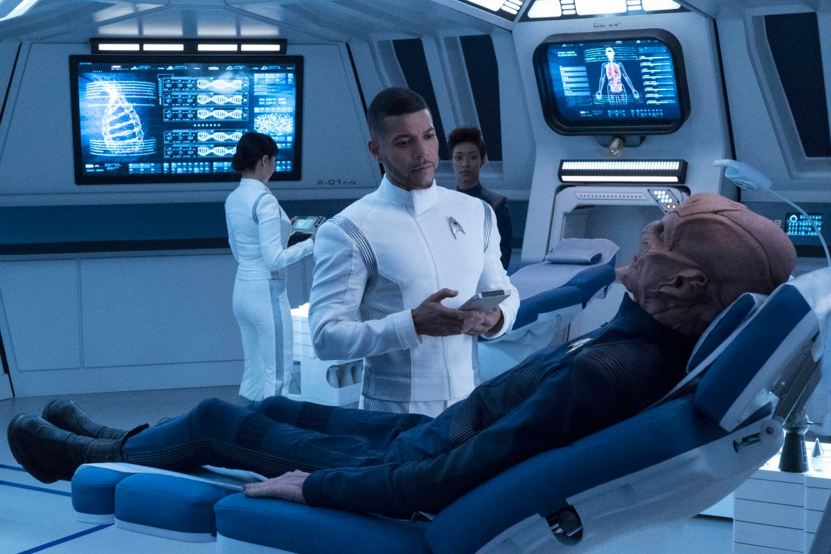 Wilson Cruz as Dr. Hugh Culber on the set of Star Trek: Discovery.