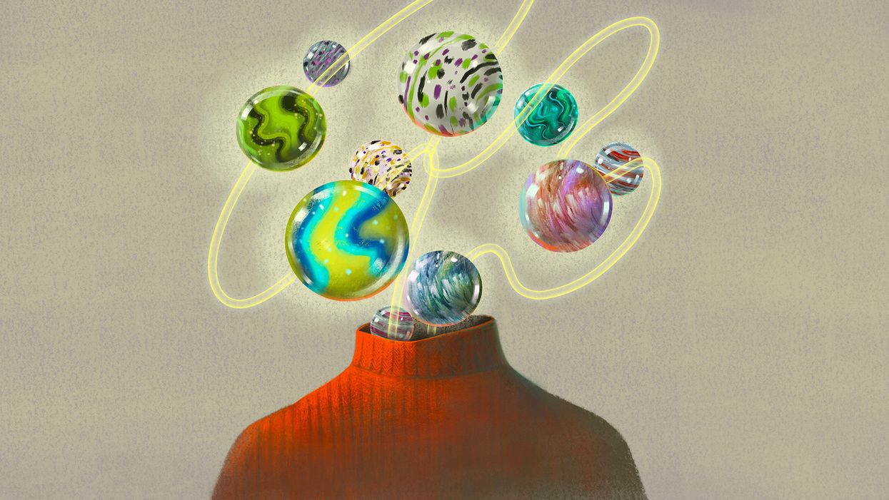 concept illustration with marbles as brain