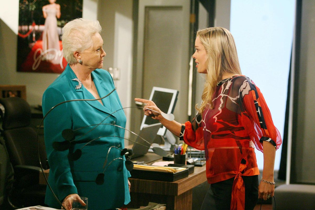 Susan Flannery and Jennifer Gareis on the set of The Bold and the Beautiful.