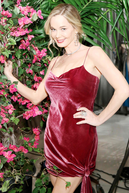 Jennifer Gareis in a red dress.