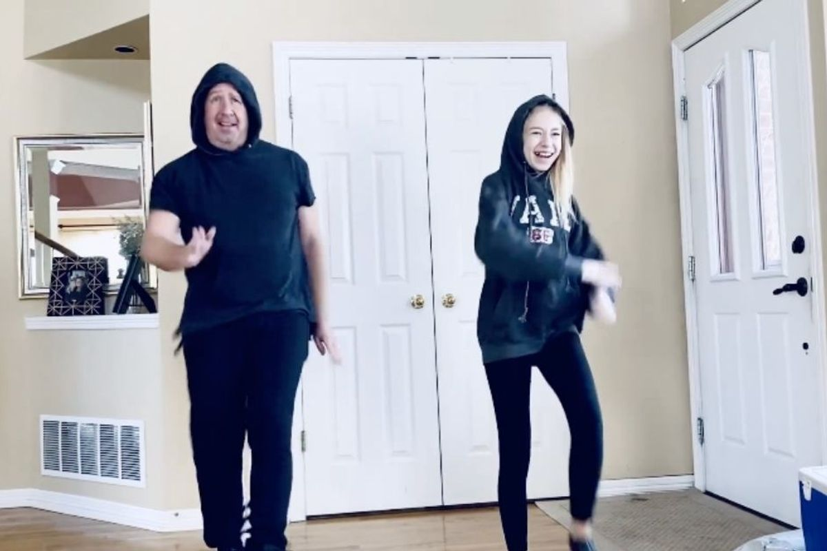50-something-year-old dad impresses the masses with an adorable dad-daughter dance battle